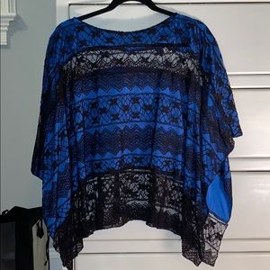 Blue and black lace top!